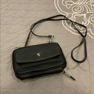 Black wallet on a strap